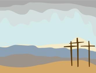 Calvary Crosses with Landscape