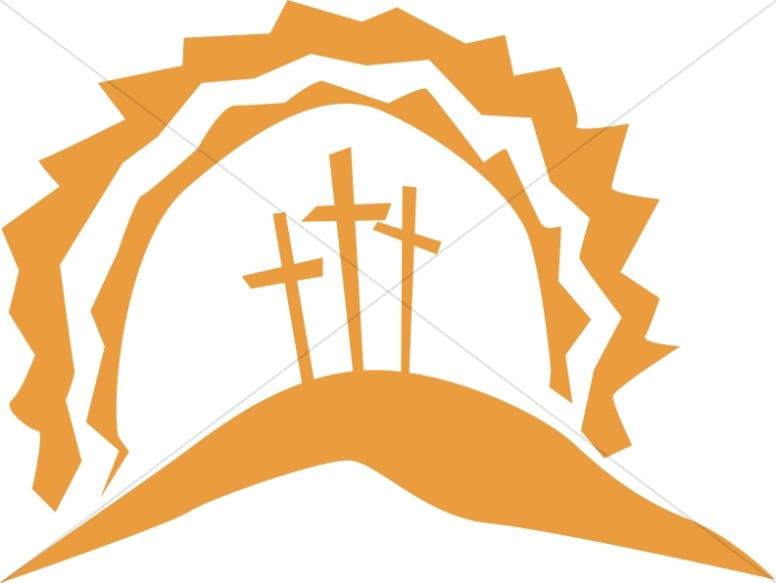 Calvary Crosses in the Sun