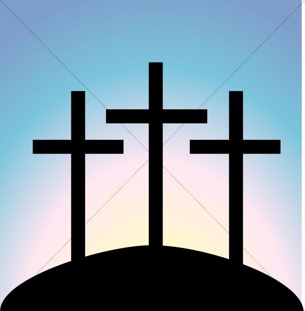 Simple Calvary Crosses at Dusk Closeup