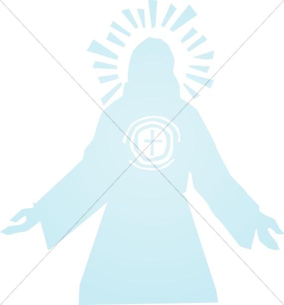 Blue Jesus Silhouette