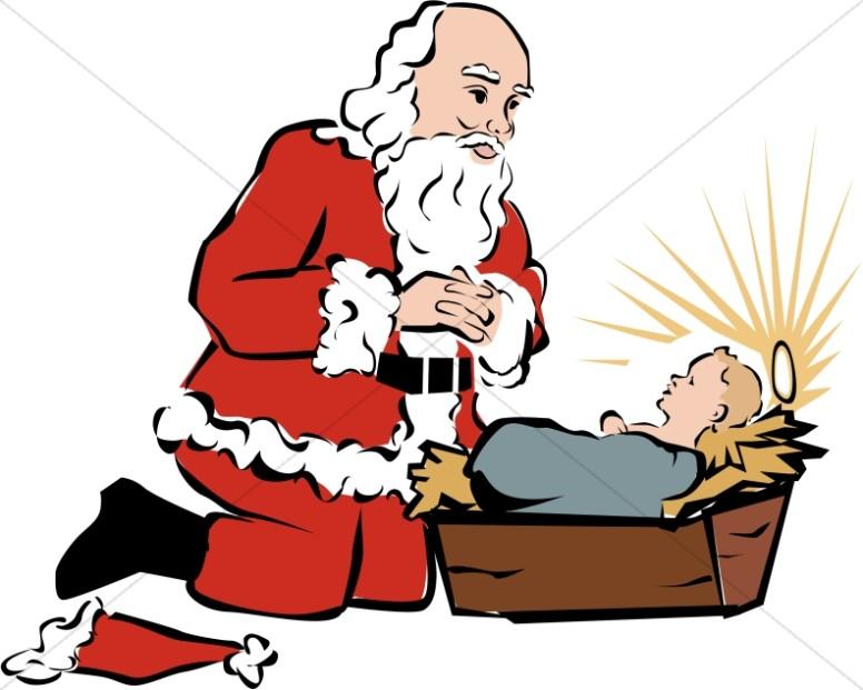 santa kneeling beside baby jesus