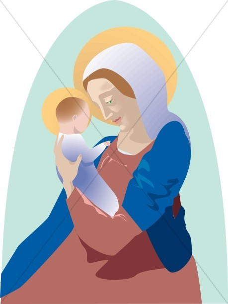 Baby Jesus Embraced by Mary