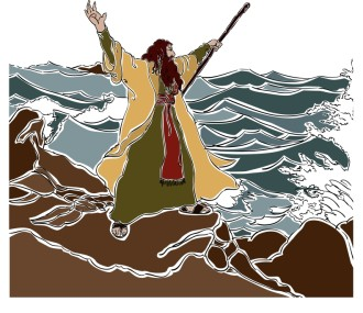 Moses Stands on the Red Sea Shore