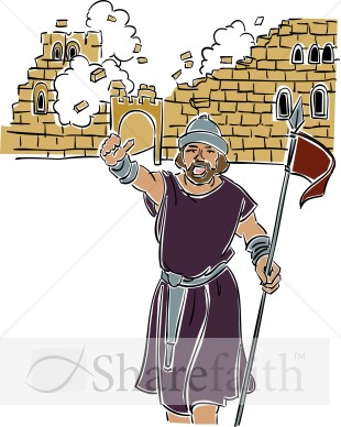 Joshua at the Battle of Jericho Old Testament Clipart