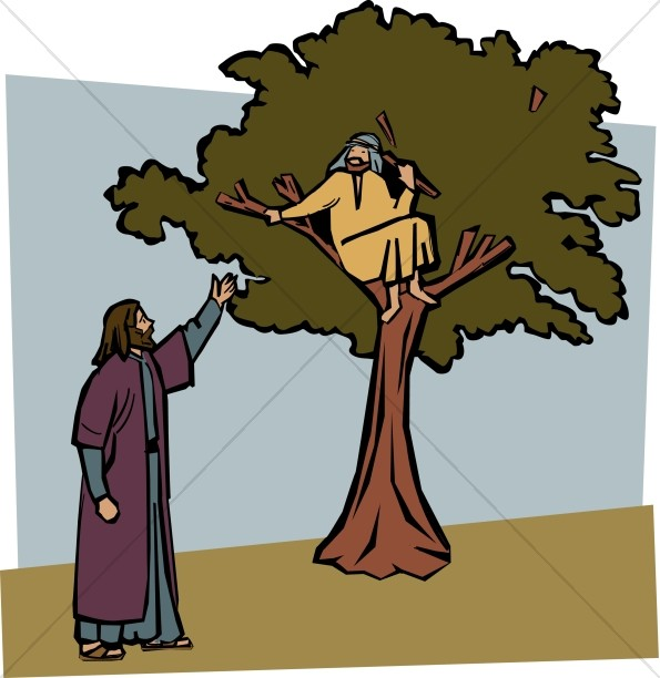 Jesus Invites Zacchaeus Down from the Tree