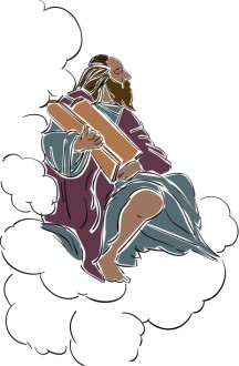 Moses in the Clouds with Biblical Scrolls