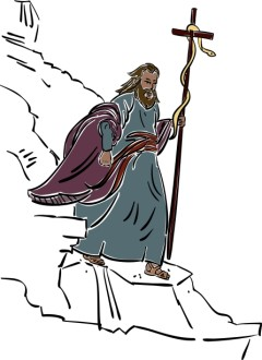 Moses Walking with Staff and Snake