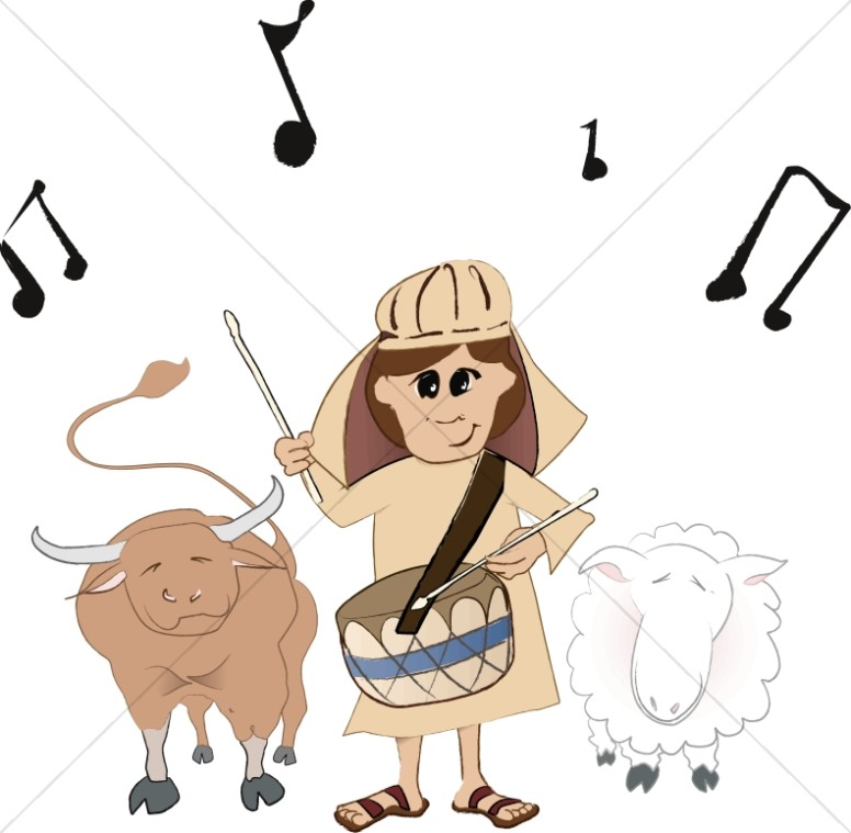 Little Drummer Boy with Bull and Sheep