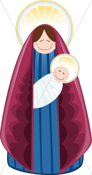 Contemporary Mary and Baby Jesus with Halos