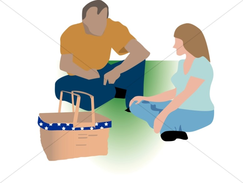 Couple Sits Down for a Summer Picnic