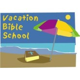 Vacation Bible School words with Beach Image