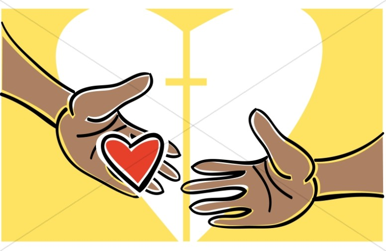 Heart in Hands with Religious Accent