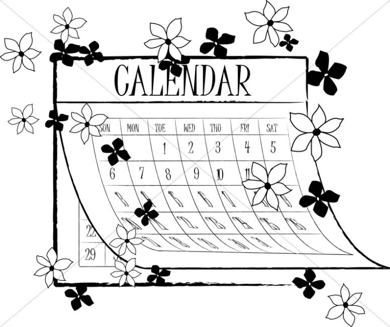 Black and White Spring Calendar