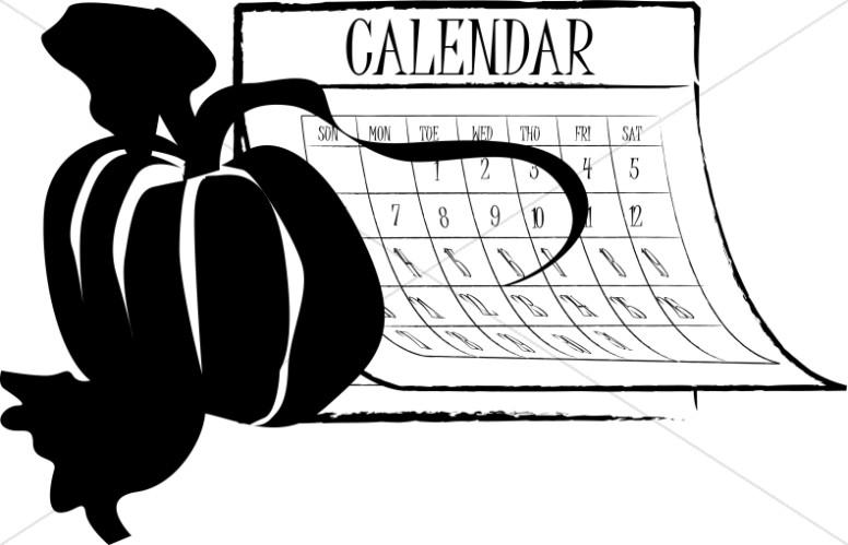 Autumn Calendar with Pumpkin Silhouette