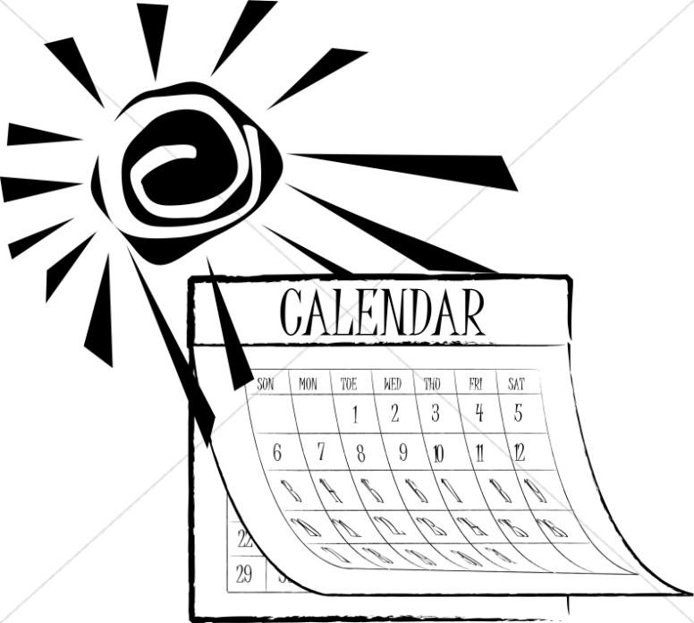 Calendar Clipart Black And White : Black and white summer sun calendar