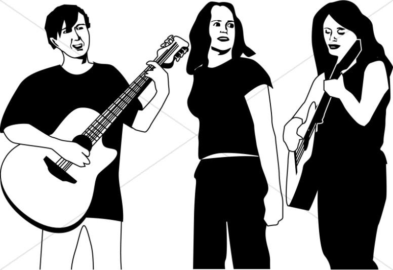 Trio of Folk Musicians