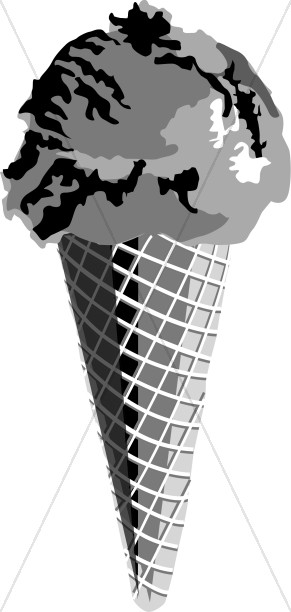 Black and White Ice Cream Cone