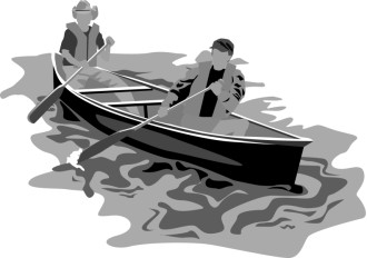 Greyscale Rowers in Canoe