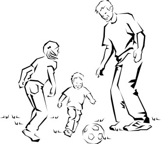 Father and Children Kicking Ball