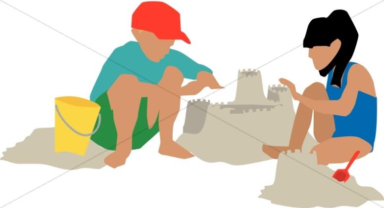 Kids Building Sand Kingdom