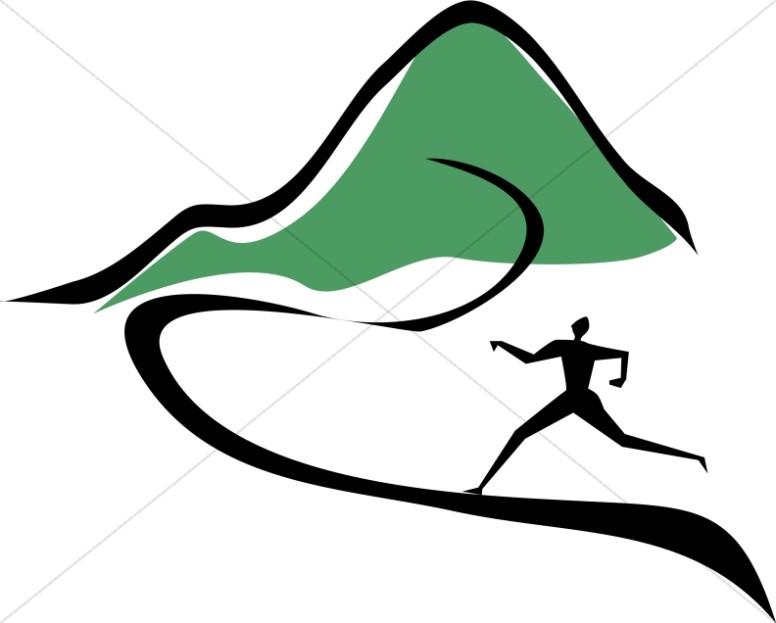 Figure Running Toward Mountain