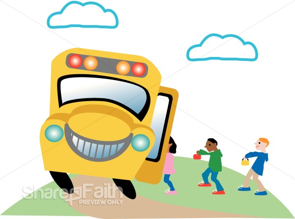 Happy Kids Getting on a Bus