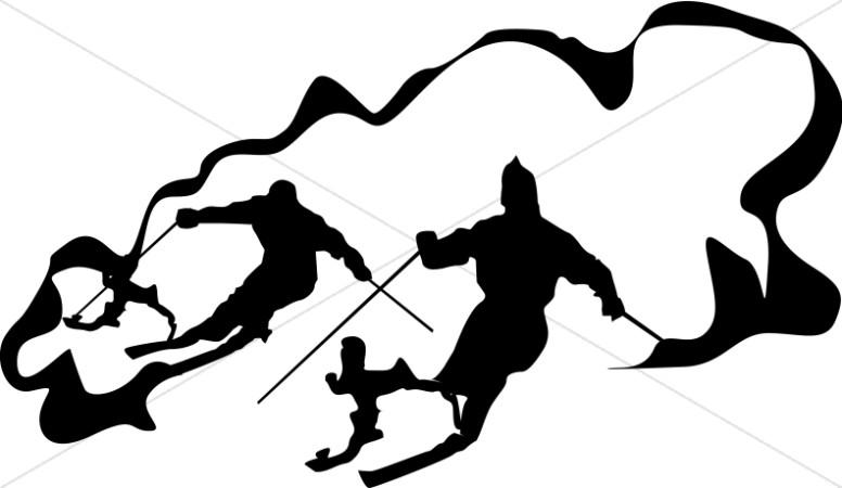 Line Art Skiiers