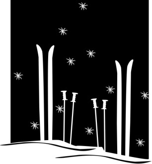 Skis, Poles and Snowflakes
