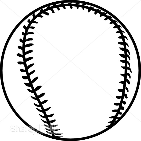 Black Outline Baseball