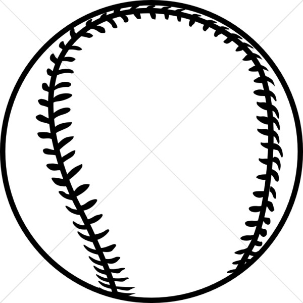 Black Outline Baseball | Church Activity Clipart