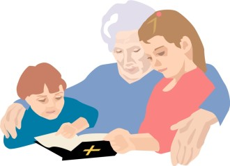 Grandchildren Reading Bible