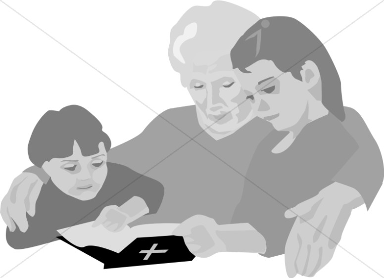 Kids and Grandmother with Bible