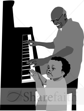 Boy and Grandpa at the Piano