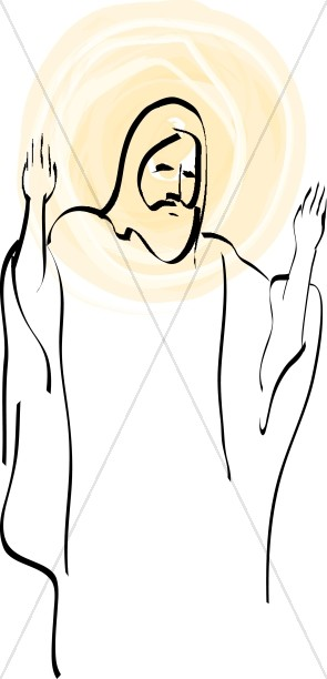 Christ Outline with Overlaid Halo