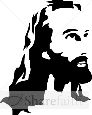 Black and White Christ Portrait | Jesus Clipart