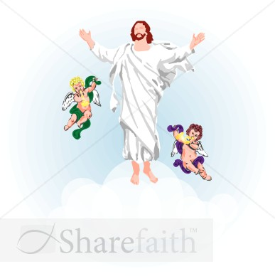 angels clouds and jesus clipart ascension day clipart