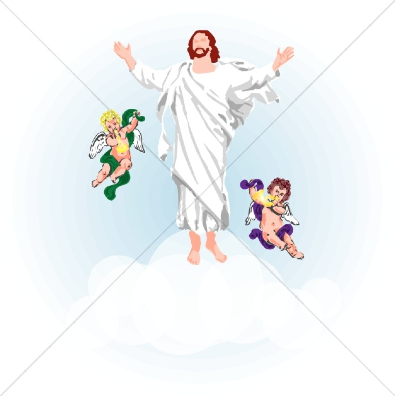 Angels Clouds and Jesus Clipart