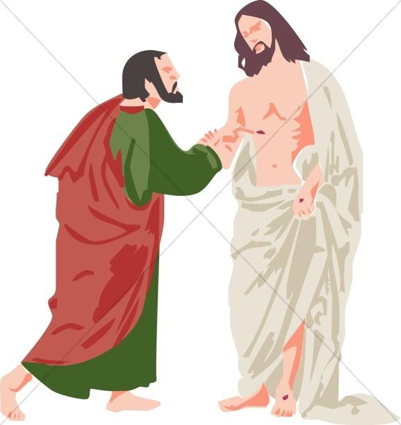 Doubting Thomas and Jesus | Jesus Clipart