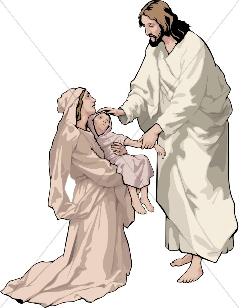 Jesus Blessing Child and Mother