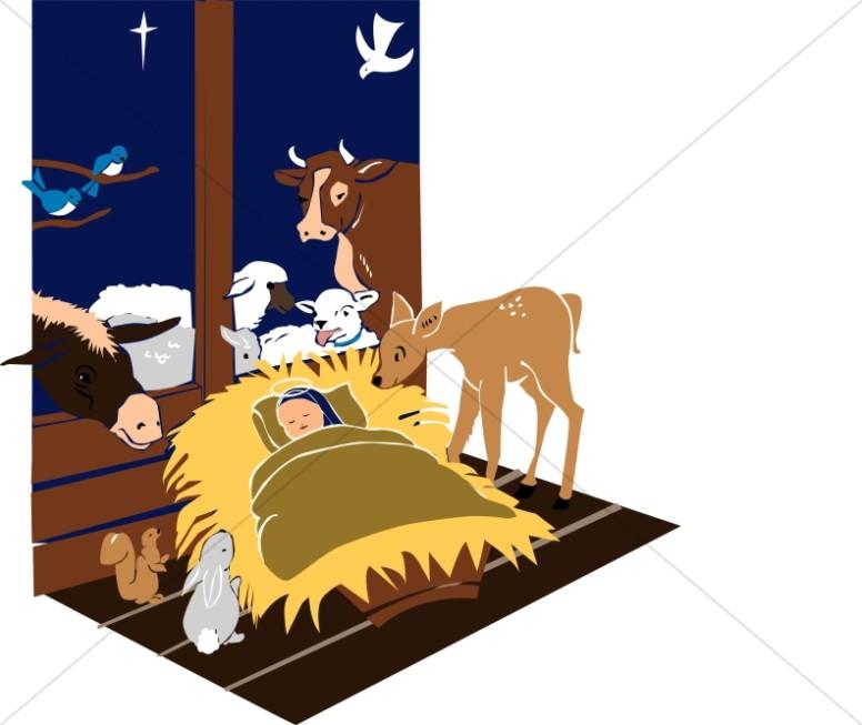 Manger Scene with Jesus and Animals