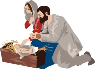 Jesus in the Manger with Mary and Joseph
