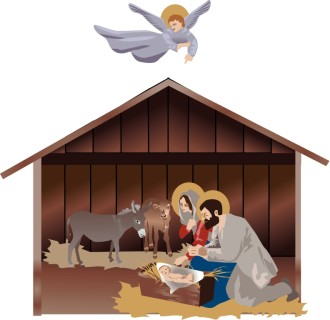 Nativity Scene with Guiding Angel