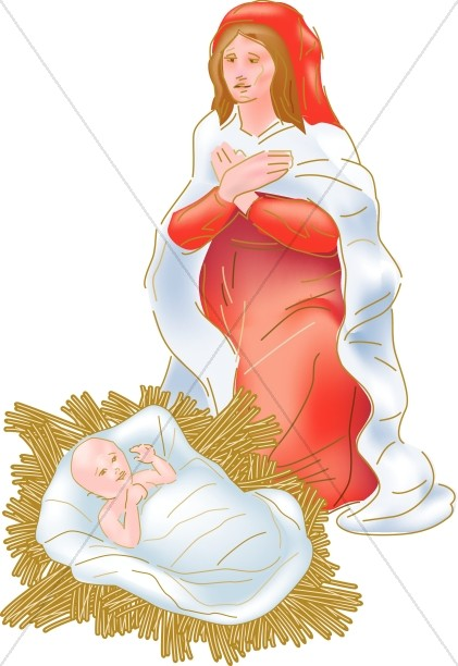 Mary with Jesus in the Manger
