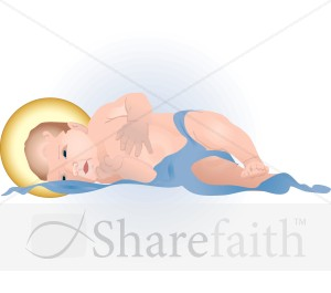 Baby Jesus Laying in Blue Blanket