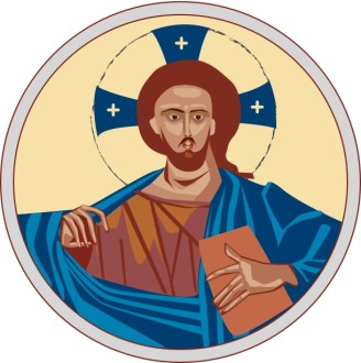 Iconic Christ with Cross Halo