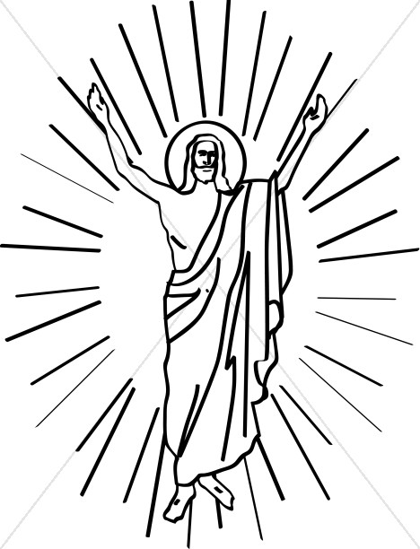 Line Drawn Risen Christ in Halo