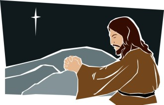 Jesus Prays at Night in Color