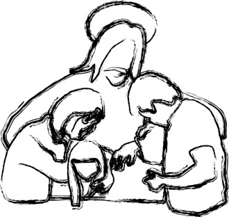Jesus Prays with Family