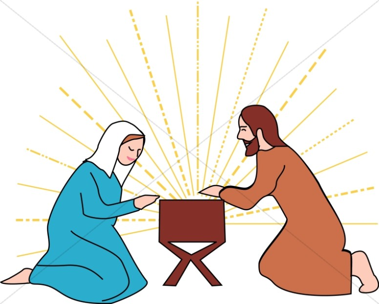 Mary and Joseph Beside the Manger