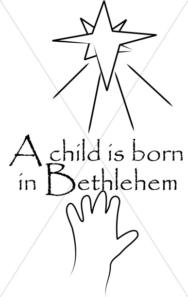 A Child is Born in Bethlehem line Art